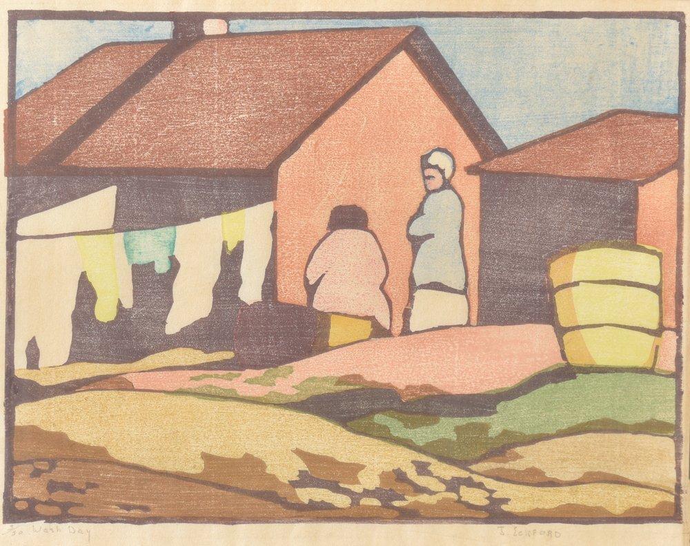 Jessie Jo Eckford, Washday, Ed. 3/30, woodcut