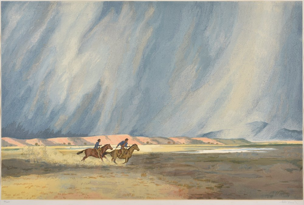 Peter Hurd, Rider on Horseback, serigraph