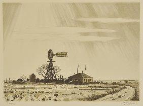 Peter Hurd, Dusty Windmill, serigraph