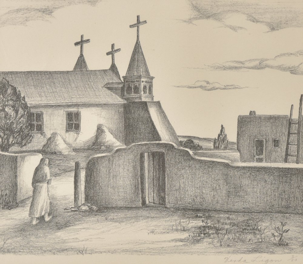 Verda  Ligon, Mission, Ed. 3/50, lithograph