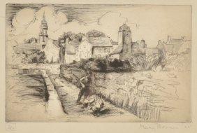 Mary  Bonner, Village Scene, 1925; Ed. 3/25, etching