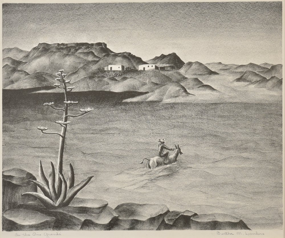 Bertha  Landers, On the Rio Grande, lithograph