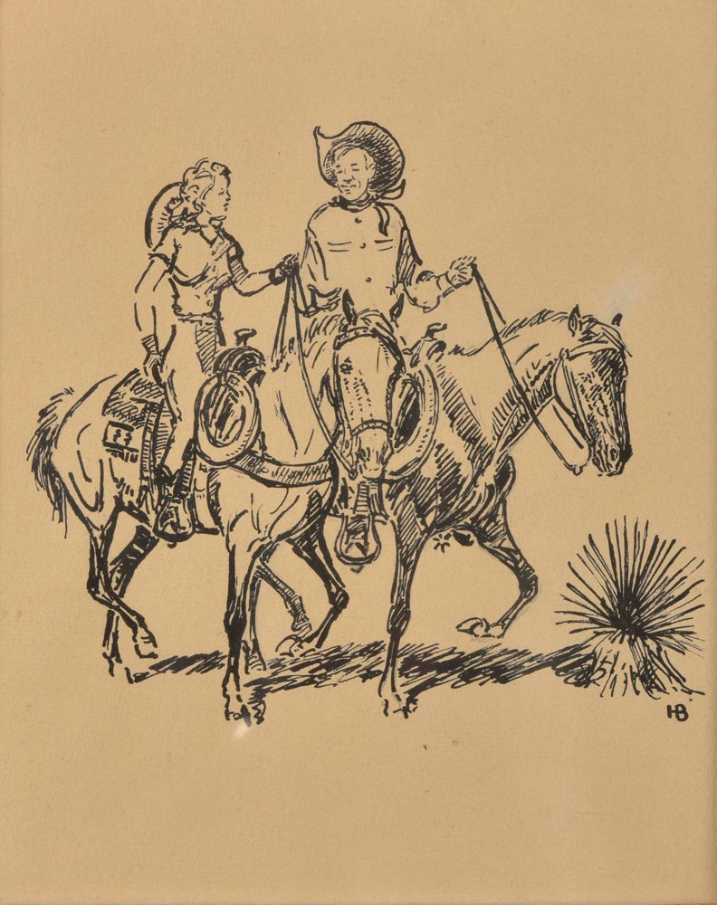 Harold Dow Bugbee, Cowboy & Cowgirl, pen & ink