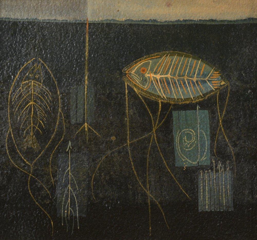 Kelly Fearing, Fishes Below, 1947, oil on board