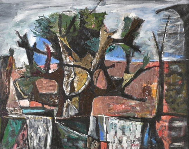 Everett Spruce, Broken Tree, 1950, oil on canvas
