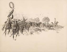 Jose Cisneros, Cattle Drive, pen and ink on paper