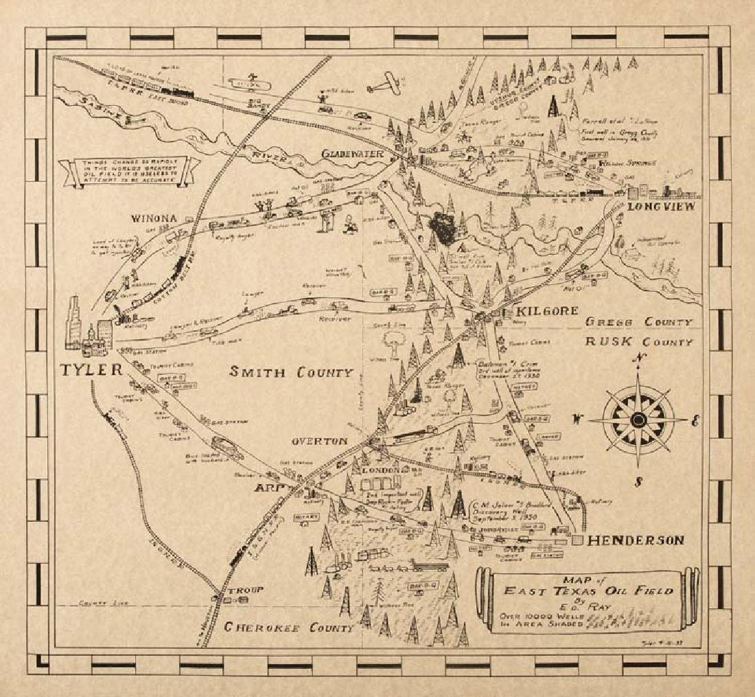 E.D. Ray, Map of East Texas Oil Field, Over 10,000