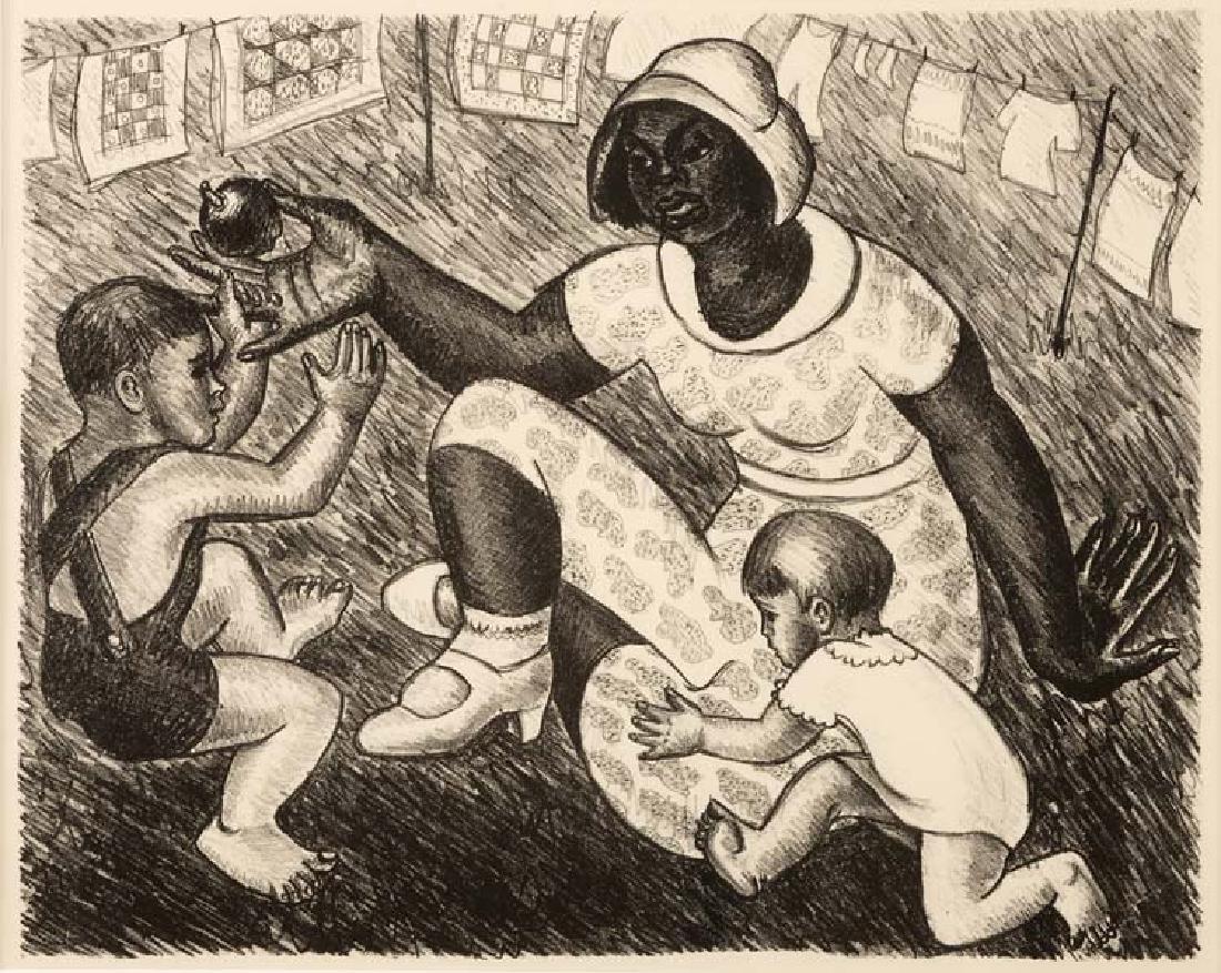 Kathleen Blackshear, Woman Plaing with Children,