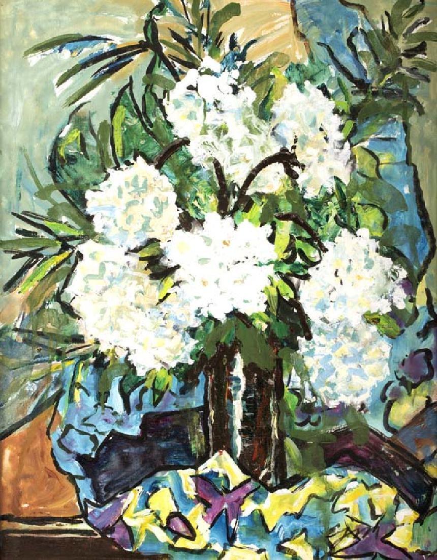Josephine Mahaffey, Flowers in White, oil on