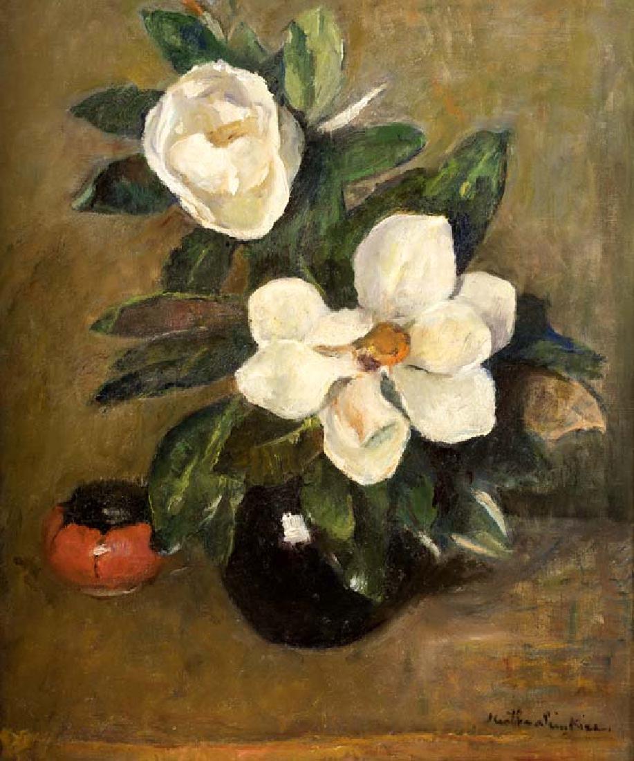 Martha Simkins, Magnolias, oil on canvasboard