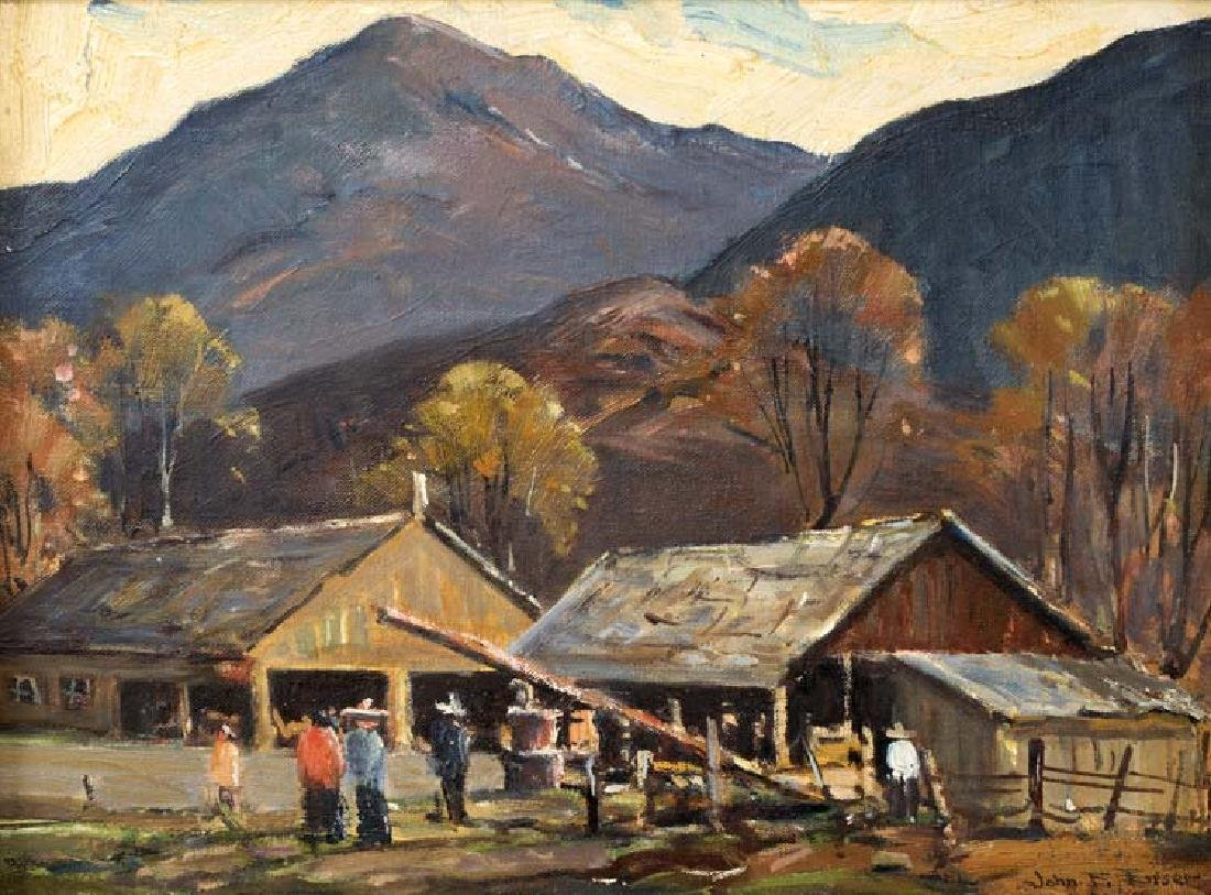 John Enser, Stables in Autumn , oil on canvasboard