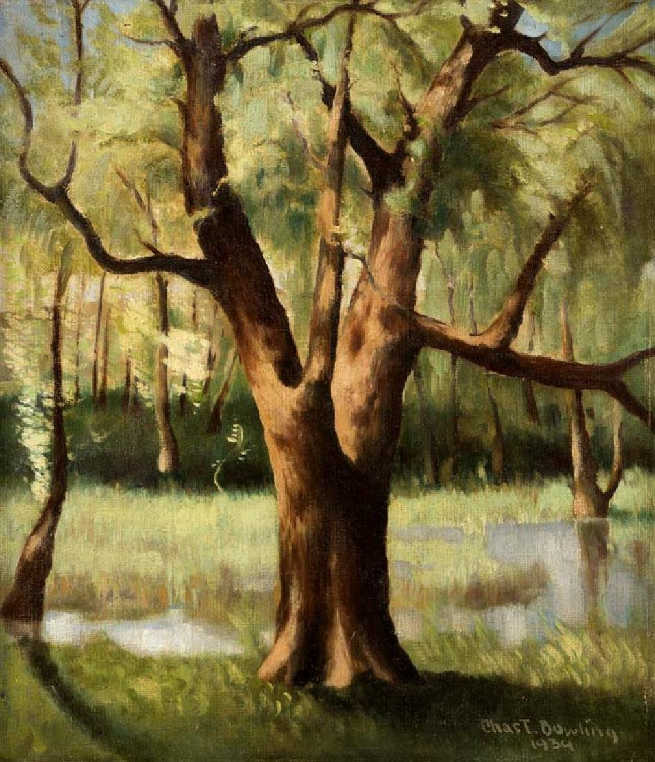 Charles Bowling, Willows, 1939, oil on board