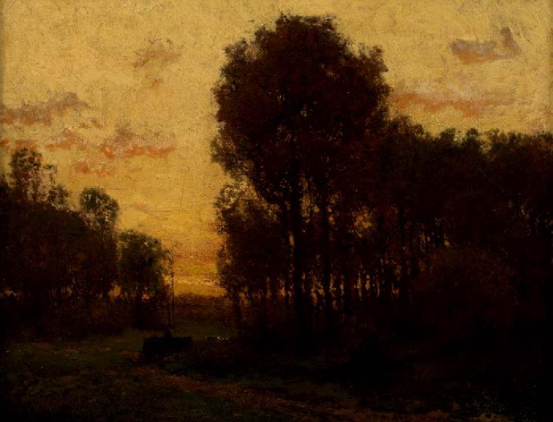 Julian Onderdonk, Landscape with Wagon at Dusk, oil on