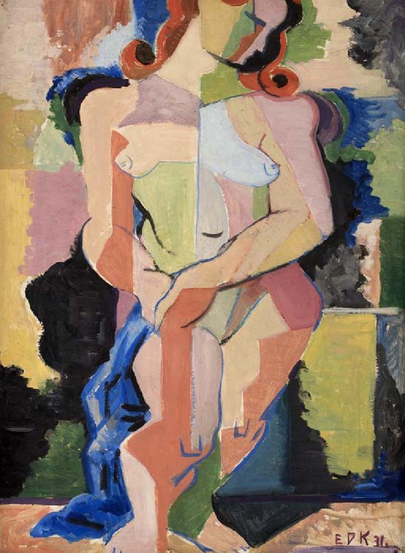 Edmund  Kinzinger, Cubist Nude, 1936, oil on board