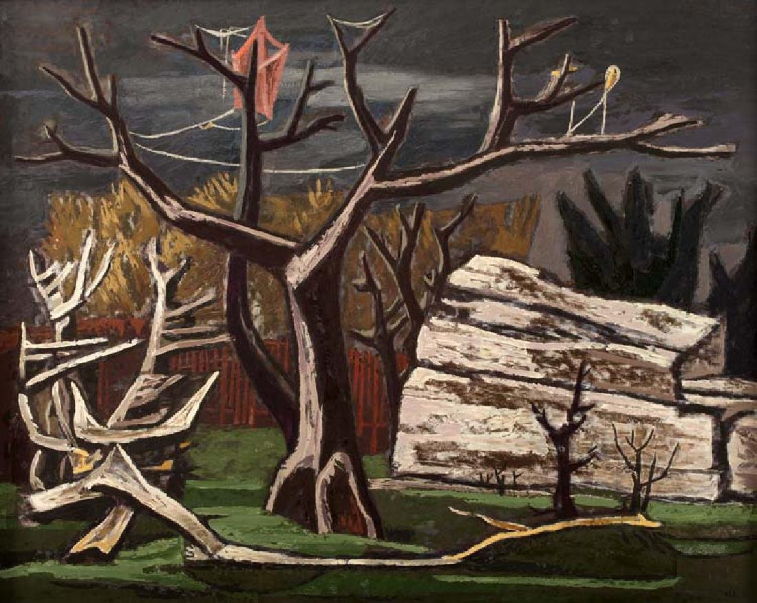 William  Lester, The Red Fence, 1947, oil on masonite