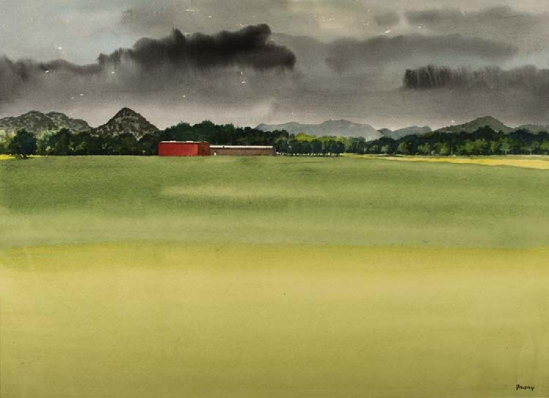 Michael Frary, Farm with Red Barn, watercolor on paper