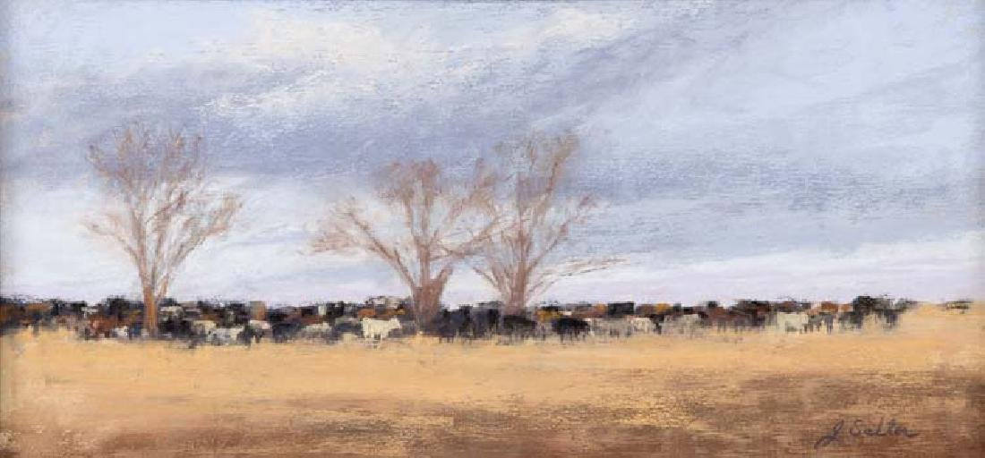 Jeri Salter, Winter Cows, pastel on paper