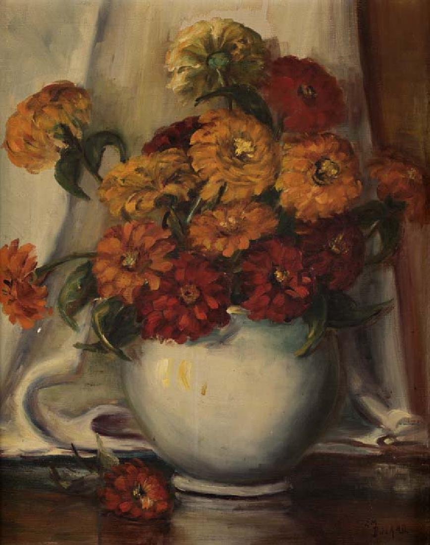 Emily Dillard, Zinnias Still Life, oil on canvasboard