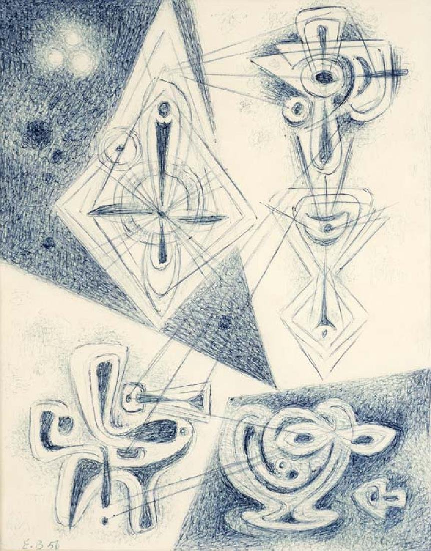 Emil Bisttram, Untitled, 1956, pen and ink on paper