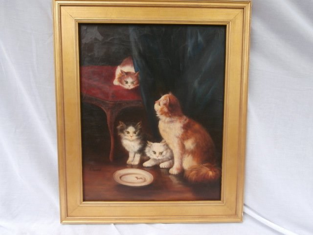 Old World Portrait Cat and Kittens Genre