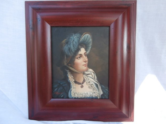 Portrait of a woman in a bonnet with blue feather