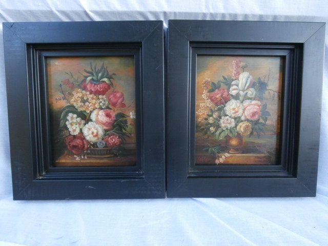 Pair of Dutch Flemish Floral Still Life Paintings