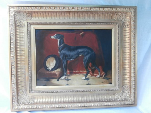 Canine Dog Portrait of a Whippet in an Interior Scene