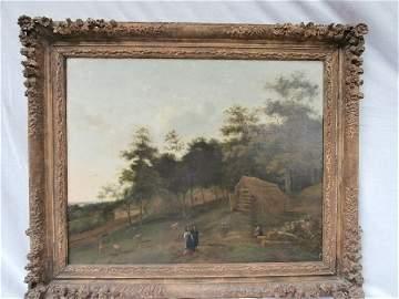 Antique Attributed to Berchem 1600's Dutch Landscape