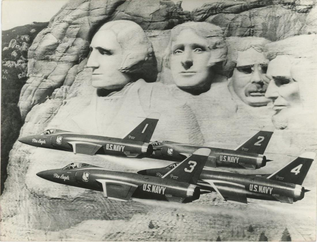 Silver Gelatin Blue Angels Flying Mount Rushmore, 1976