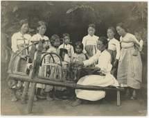 Antique Early Photo Korea Working Textiles