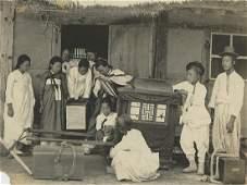 Antique Early Photo Korea Transportation to Vote