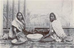 Antique Early Photo Women Preparing Spices India