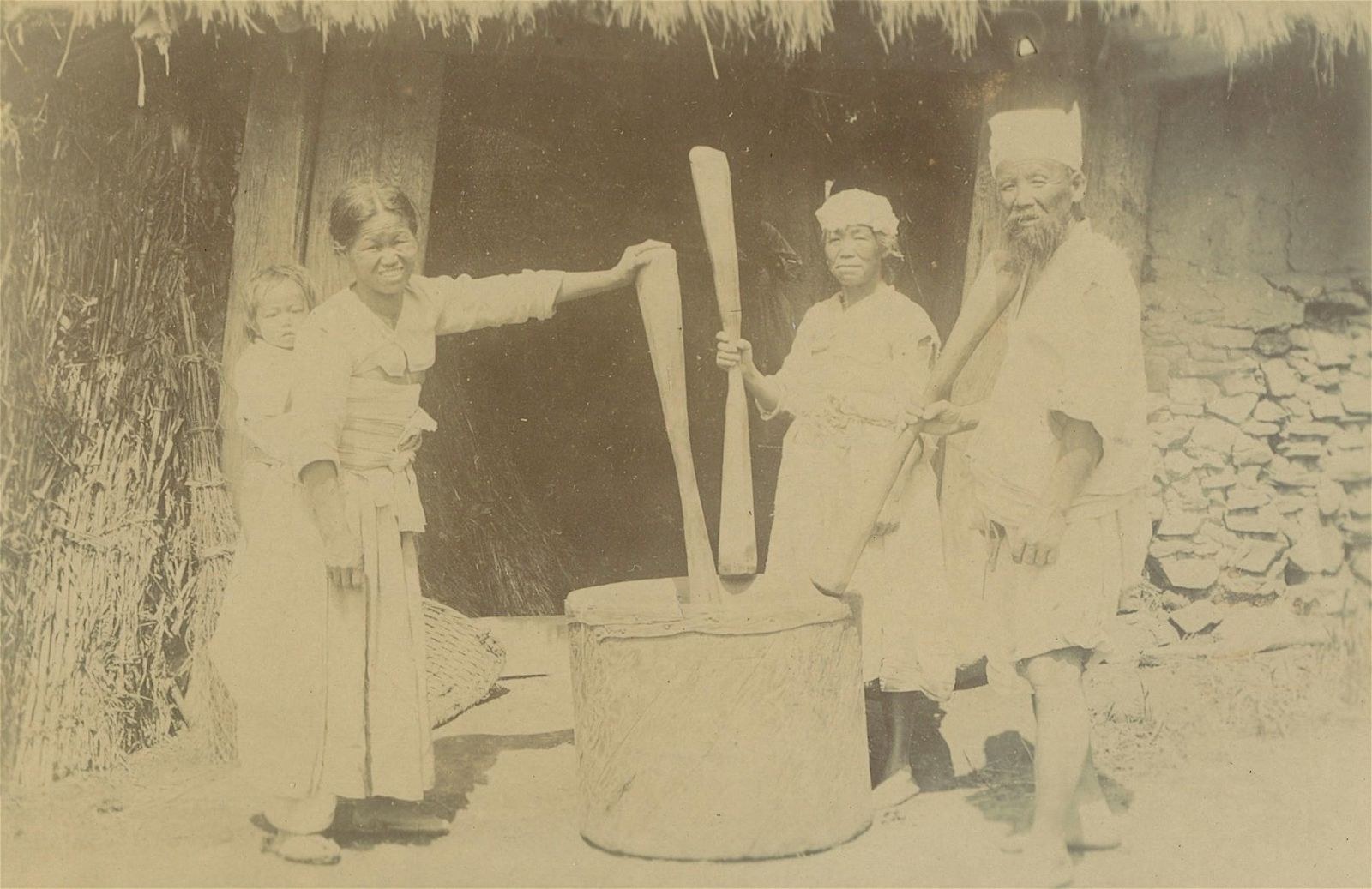 Antique Early Photo Cooking Labor in Korea