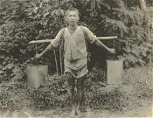 Antique Early Photo Boy Transporting Water in Korea