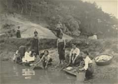 Antique Early Photo Lavandieres in Korea