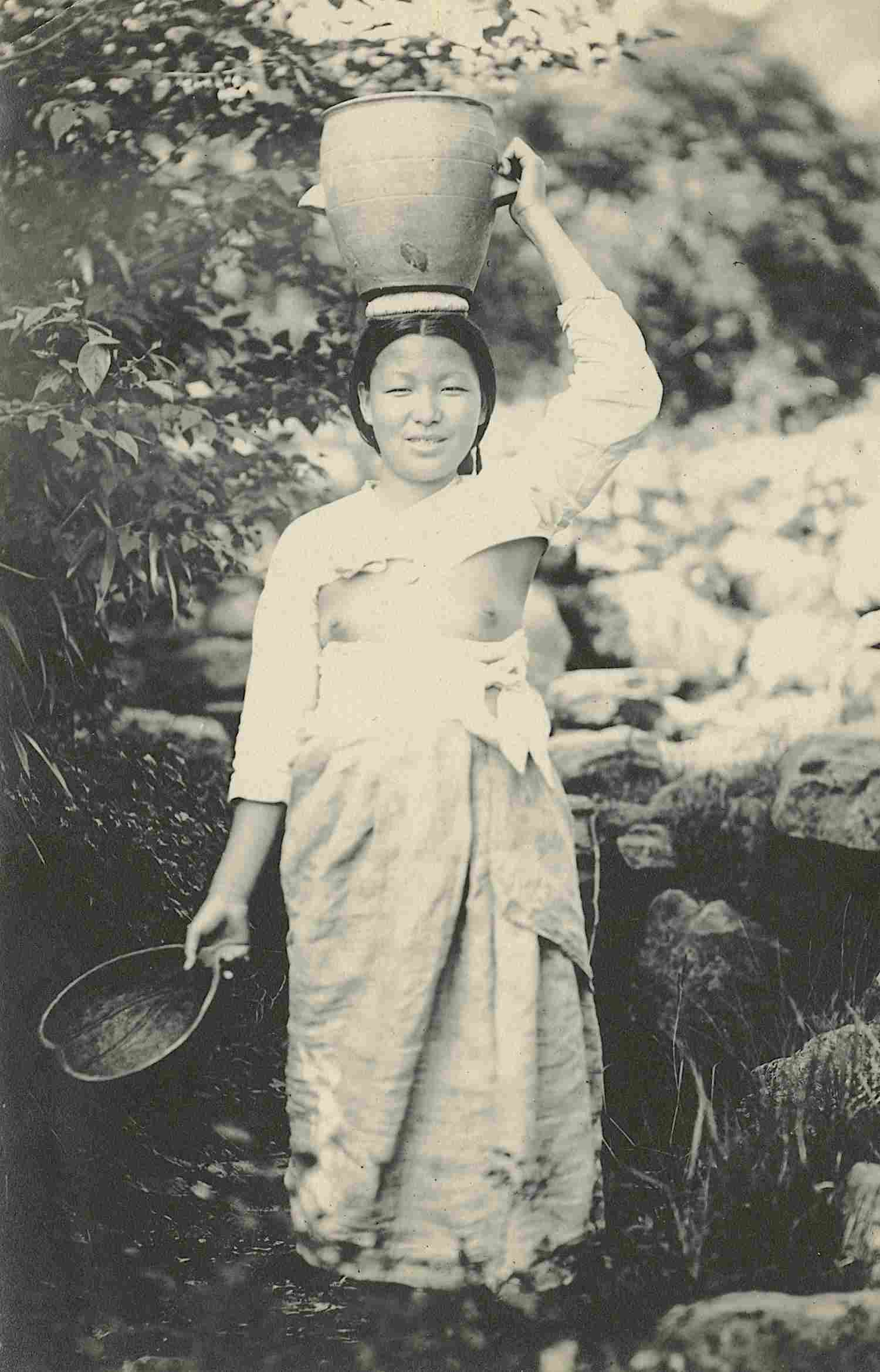 Antique Early Photo Woman Transporting Water Korea Nude