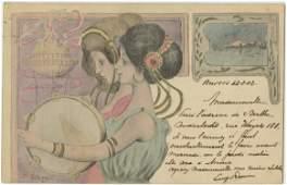 Vintage Antique French Postcard Art Nouveau