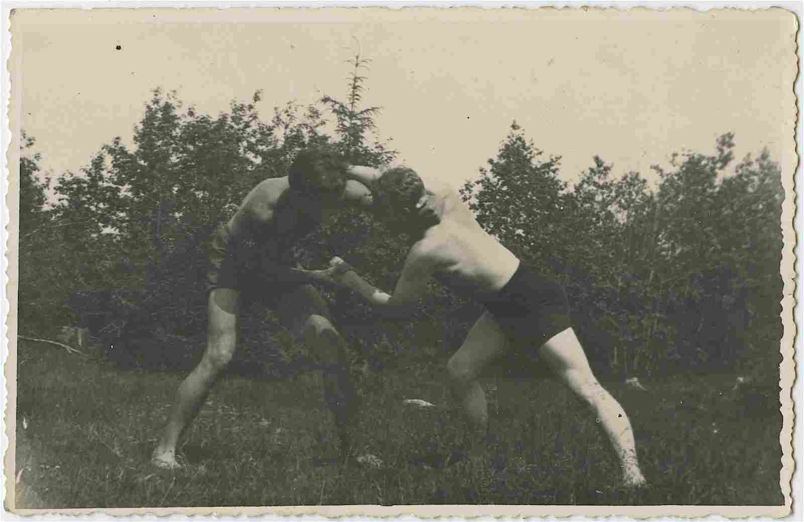 Vintage Antique French Postcard Real Photo Wrestling