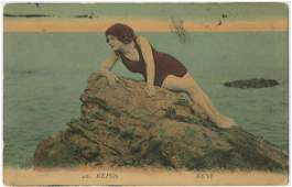 Vintage Antique French Postcard PinUP in the Beach