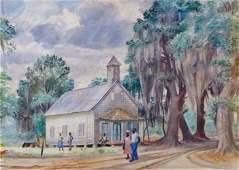 HORACE TALMAGE DAY Black Americana Watercolor 1932