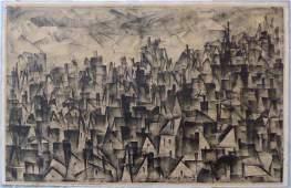 HARRY MINTZ City Patterns Vintage Stone Lithograph