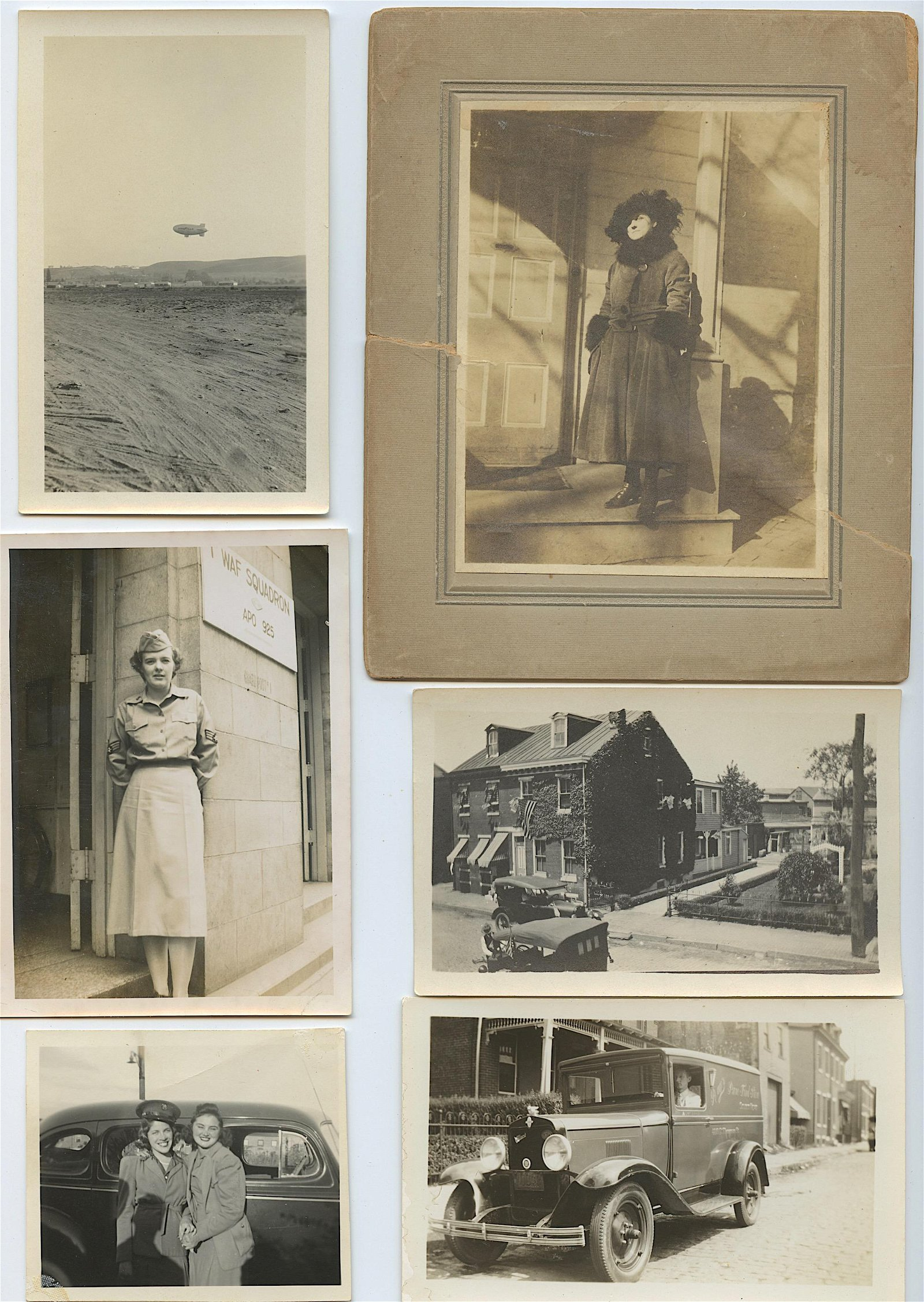 Vintage Set 6 Photos Woman Military WWII
