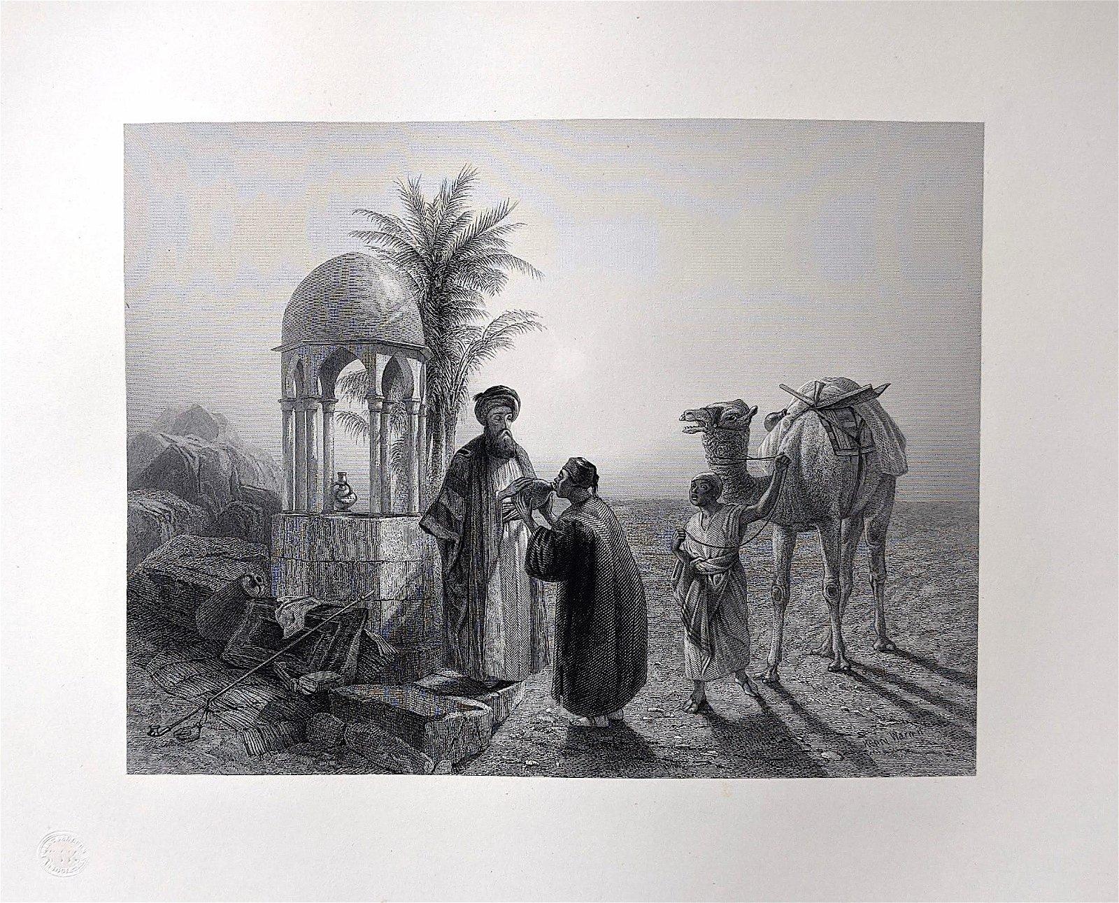 H. WARREN Museum Quality Antique Engraving, 1855