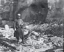 Antique Glass Plate Positive Russian Soldier WWI Paris
