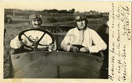 Antique  Vintage Postcard Real Photo Pilots Car Racing
