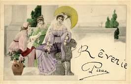 Antique  Vintage Postcard French Art Nouveau 1900s