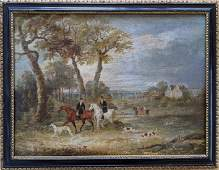 SAMUEL HENRY Antique English Oil Hunting Scene 19th C