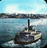 Antique Latern Glass Photograph New York Ferry Boat