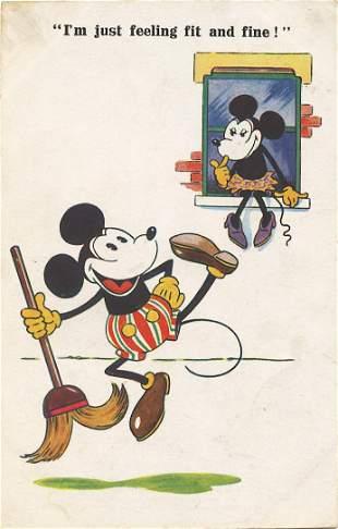 Antique / Vintage Postcard Mickey Mouse, 1930