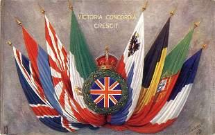 Antique / Vintage Postcard Victoria Concordia Crescit